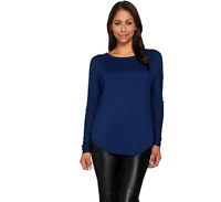 Lisa Rinna Collection  Long Sleeve Top with Back Pleat Indigo Size XL