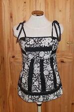 black white floral cotton camisole vest t-shirt blouse top holiday 8 36 NEXT