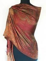 Dark Red & Gold Silk. Indian Shawl.Reversible Jamavar Shawl Jamawar Stole