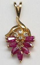 14K Yellow Gold  Marquis Genuine Ruby and Diamond Pendant