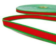 "5 Yds Christmas Red Green Lollipop Striped Grosgrain Ribbon 3/8""W"