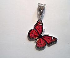 Monarch Butterfly Pendant Necklace Charm Orange