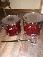 80s Ludwig Power Toms 12x11 and 13x12 - Black/White Badge with Double Tom Arm!