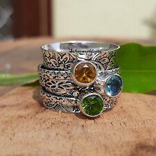 Blue Topaz Spinner Ring 925 Sterling Silver Plated Handmade Ring Size 8 zz212