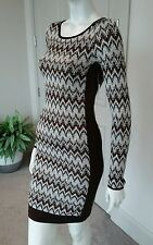Free people brown ivory bodycon fitted dress open back sz S NWT $148