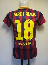 BARCELONA 2013/14 S/S LADIES HOME SHIRT JORDI ALBA 18 BY NIKE SIZE MEDIUM 12-14