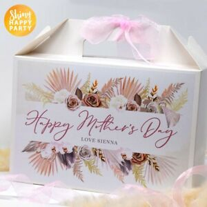 PERSONALISED Large Pink Fern Rose Happy Mother's Day White Kraft Box Gift BOX