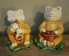 """TWO 5.75"""" Musical Frog on Leaf One with a Drum One with a Horn - Statue -LOT"""