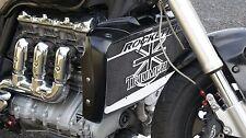 """cache / Grille de radiateur inox Triumph Rocket3 """"Union Jack"""" + grillage noir"""