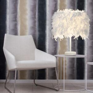 Table Lamp Shades White Feather Elegant Lampshade Bedside Desk Night Light Decor