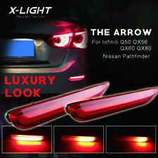 Fit Infiniti Q50 QX Nissan Red LED Bumper Brake Lights w/ Sequential Turn Signal