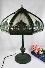 Antique Art Nouveau Blue 8 Panel Slag Glass Table Lamp Signed