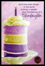 Birthday Hallmark Granddaughter Cake Purple - Glittered Birthday Greeting Card