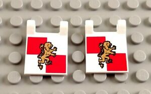 LEGO Lot of 2 White 2x2 Clip On Flags Pieces with Castle Lion Knights Pattern