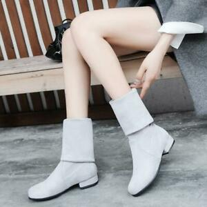 New Women's Faux Suede Stretch Boots Pull On Mid Calf Boots Flat Low Heel Shoes