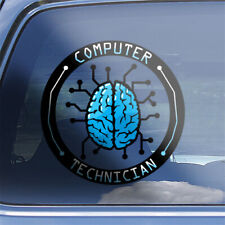 Computer Tech Brain Decal - Computer maintenance repair technician sticker