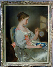19th Century Oil Painting by Charles Chaplin of Beautiful Woman Making Bubbles