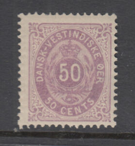 Dansih West Indies Sc 13 Numeral 50 Cent Violet Thin Paper Mint Never Hinged!