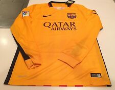 Team FC Barcelona Authentic Long Sleeves Jersey Yellow Soccer X-Large Football