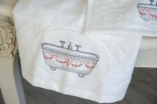 Handtuch Frotteé 30 x 50 Towel Bad Shabby Landhaus Vintage Badezimmer