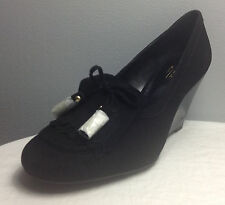 COACH TERRI WEDGE BLACK SHOES WITH FRINGE IN SUEDE 9B NIB