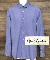 Robert Graham X Men's Blue Plaid Long Sleeve Button Front Shirt 39 15.5 Small