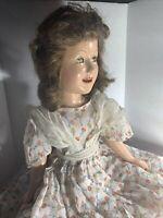 """Vintage 20"""" Ideal Deanna Durbin Doll Original Dress Undies Slip Sash Green Eyes"""