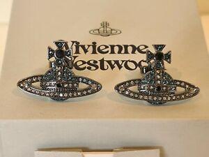 Vivienne Westwood black crystal Orb earrings New with Box