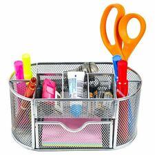 8 Compartment Desk Organizer Wire Mesh w/Additional Drawer, Silver