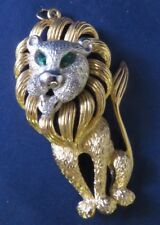 Vintage Large Gold & Silver Tone Lion Pendant - Accented with Green Rhinestones