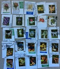 25 used Us forever & other stamps Flowers Fruits Vegetables misc No Duplicates