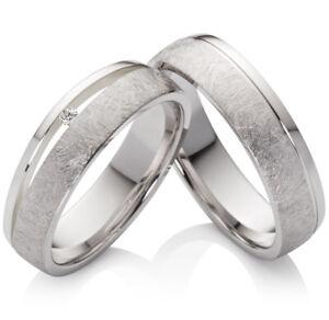 2 Eheringe Trauringe Partnerringe aus Silber mit Diamant und Lasergravur SPB43