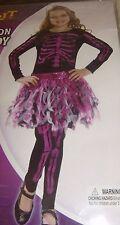 CUTE GIRLS SKELETON DRESS HALLOWEEN COSTUME COSPLAY SIZE MED NEW MIP