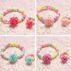 Acrylic Resin Beads Jewelry Children Baby Bracelet Camellia Girls Kids Ring Set