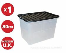 Caja de Plástico de 80 L-Caja Fuerte Grande-Apilable-Juguetes-Limpiar -