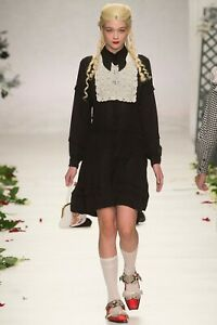 Meadham Kirchhoff SS14 Black Pleated Shirt Dress UK 8