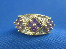 VINTAGE 10K YELLOW GOLD AMETHYST AND DIAMOND  RING SIZE 6 3/4