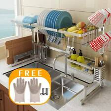 Over The Sink Dish Drying Rack Drainer Shelf Silver Utensil Holder Organizer New