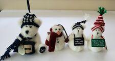 Boyds Bears 5� Plush Snowman Ornament Lot of 4 Winter Christmas Holiday, Bernice