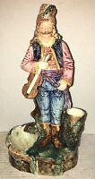 RARE Austrian Majolica Figurine Smoke Cigar Match Holder Musician FIDDLE Violin