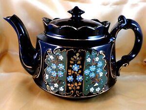 Antique JACKFIELD Teapot VICTORIAN Black VINTAGE Floral HAND DECORATED Stunning