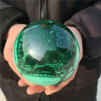 2.24LB Natural Malachite sphere quartz Crystal specimen Reiki Healing