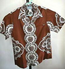 Mens Medium Vtg  60'S 70s Waltah Clarkes Hawaiian Shirt Loop Collar Style10