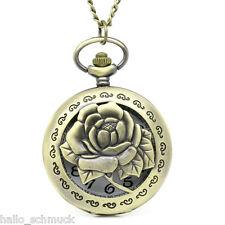 HS 1 Taschenuhr Kettenuhr Wunderschöne Rose Uhr mit Halskette Bronzefarben