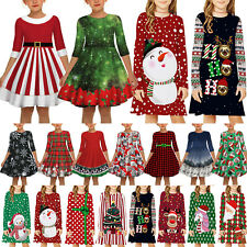 Girl Kid Christmas Xmas Santa A-Line Dress Party Princess 3D Printed Swing Dress