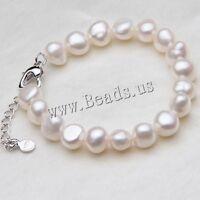 Fashion Women White Baroque Freshwater Natural Pearl Bracelet Bangle Jewelry