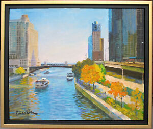 ON THE CHICAGO RIVER~LISTED ARTIST~ORIGINAL PAINTING BY MARC FORESTIER