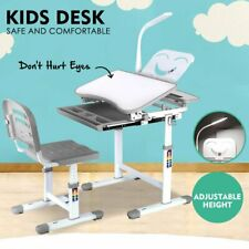 Height Adjustable Kid Desk and Chair Set, Children Study Table for Students Gray
