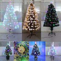 Pre Lit Christmas Tree Xmas Fibre Optic LED Lights Star 3ft 4ft 5ft 6ft 7ft 8ft