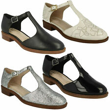 TAYLOR PALM LADIES CLARKS T BAR BUCKLE LEATHER POINTED TOE LOW HEEL FLAT SHOES